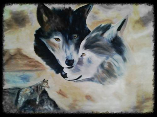 Knuffelende wolven