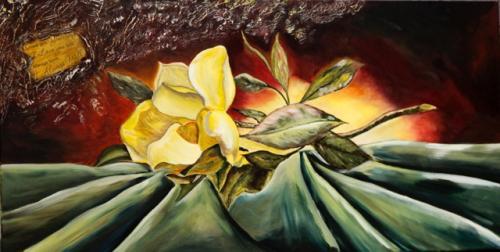 bloem op doek