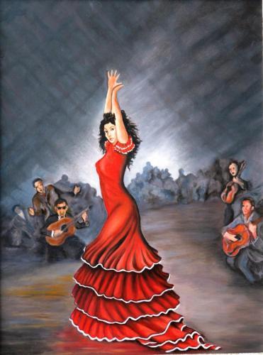 olieverf Spaanse danseres